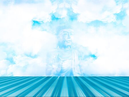 buddha image: blue terrace with sky and buddha image for background Stock Photo