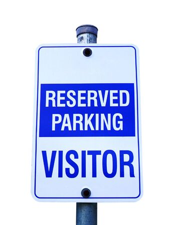 Reserved parking for visitor sign isolated on a white background Stok Fotoğraf