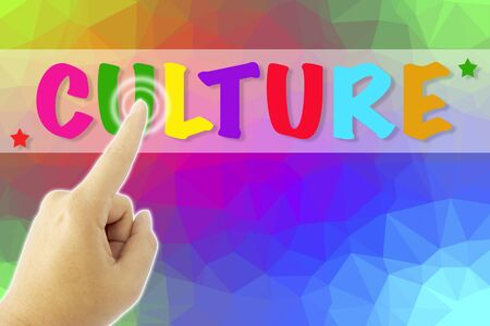 culture: touching CULTURE sign on colorful low poly background