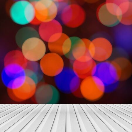 table surface: Wooden colorful abstract bokeh background Stock Photo