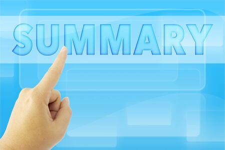 summary: hand pointing SUMMARY word on blue screen