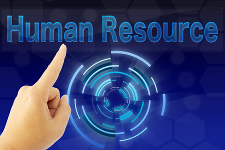 hand pointing human resource word on blue screen