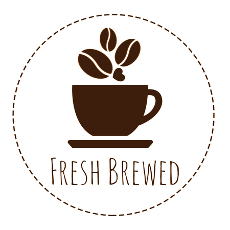 brewed: a coffee cup with word Fresh Brewed