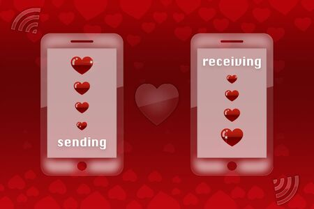 sending: valentines day background - sending love Stock Photo