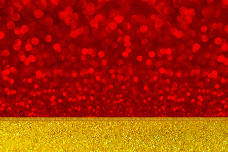 red and gold: red bokeh wall and gold glitter floor, mock up for display of product
