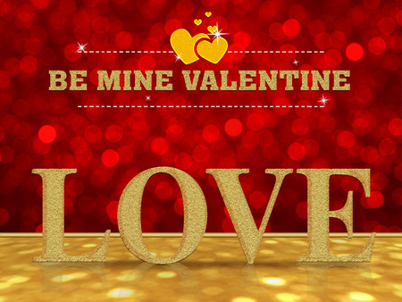 be: Be mine Valentine with love word on red bokeh background Stock Photo