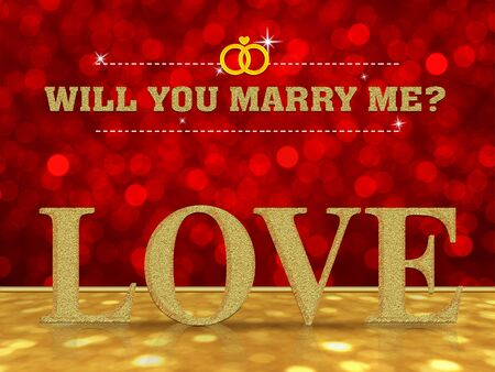 will you marry me: Will you marry me with Love word on red bokeh background