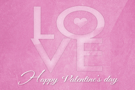 Valentines Day on old grunge pink paper background Stock Photo