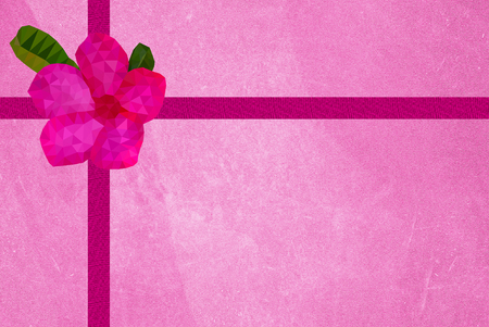 old grunge pink paper gift box with pink flower