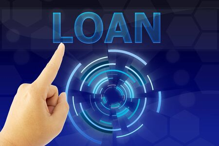 borrowing: hand pointing LOAN word on blue digital background
