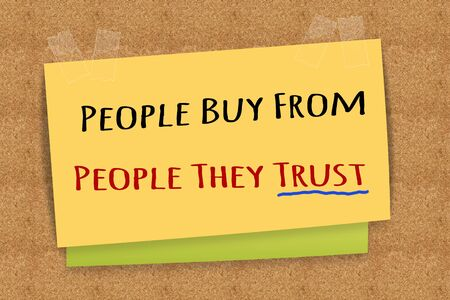 trust people: People Buy From People They Trust  on sticky note
