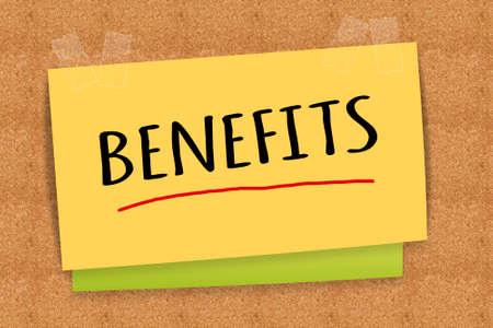 Benefits on sticky note Reklamní fotografie
