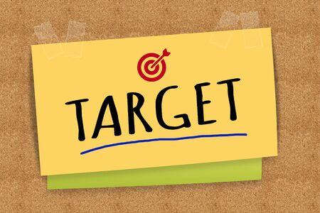 sticky note: Target on sticky note Stock Photo