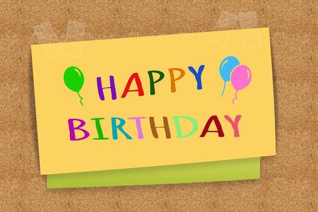 sticky note: Happy Birthday on sticky note