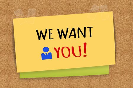 want: We want you on sticky note Stock Photo
