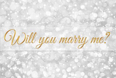casados: ¿te casarias conmigo? en blanco brillo de plata resumen de antecedentes bokeh