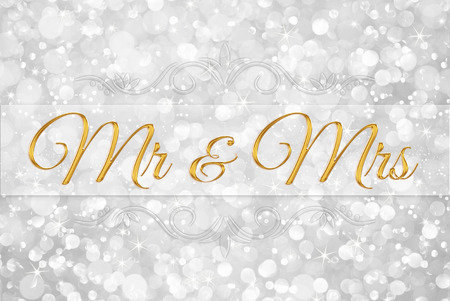 mr and mrs: Mr & Mrs on white silver glitter bokeh abstract background