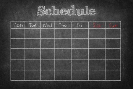 Schedule on blackboard