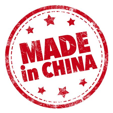 made in china: Grunge rubber stamp with text - Made in china