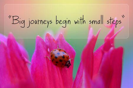 oracion: Grandes desplazamientos comienzan con pequeños pasos Foto de archivo
