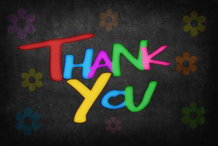 agradecimiento: la palabra gracias en la pizarra Foto de archivo