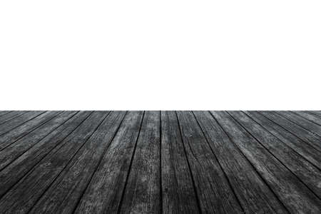 white wood floor: wood floor with white wall for background Stock Photo