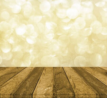 counter top: concrete counter top on bokeh yellow gold background Stock Photo