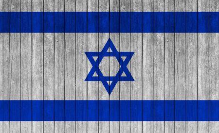 Israel flag painted on wood texture background