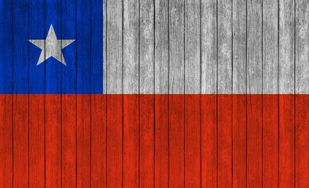 flag of chile: Bandera de Chile en la madera de textura de fondo Foto de archivo
