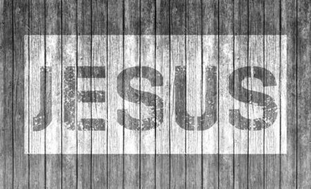 jesus word: Jesus word on Wood texture background