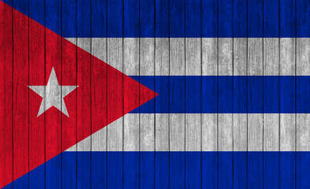 cuba flag: cuba flag on wood texture background Stock Photo