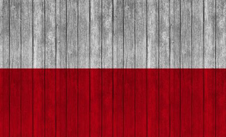 poland flag: poland flag on wood texture background