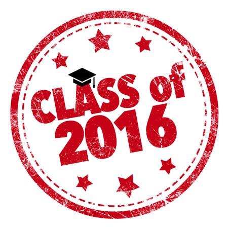 Class of 2016 Wort roten Stempel Text auf weißem Hintergrund