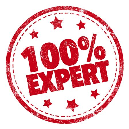100% Expert word red stamp text on white background Фото со стока