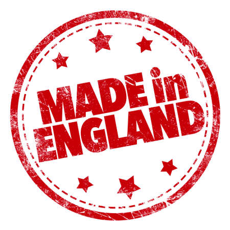 confirm: Made in England word red stamp text on white background