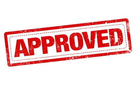 approval label: APPROVED word red stamp text on white background Stock Photo