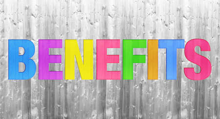 advantages: colorful BENEFITS word concept on wooden texture background Stock Photo