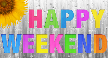 long weekend: Happy Weekend on white wood texture background Stock Photo