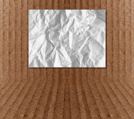 table of contents: crumpled paper on cardboard background, template mock up for adding content or product Stock Photo
