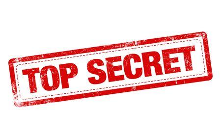"""흰색 배경 위에 빨간색에서 우표 단어 """"일급 비밀"""" 스톡 콘텐츠 - 55495553"""