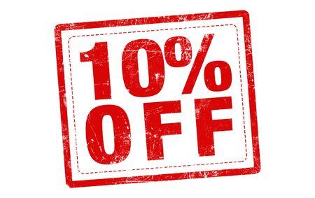 10% korting op de rode stempel tekst op een witte achtergrond Stockfoto