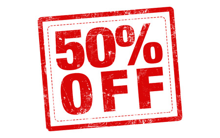 advertised: 50% off red stamp text on white background Stock Photo