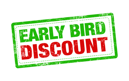 Early bird DISCOUNT red stamp text on white background