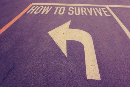 survive: How to survive word on street Stock Photo