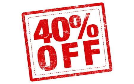 40: 40% off red stamp text on white background