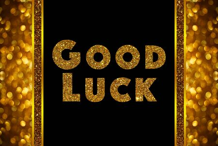 Good luck woord over rose gouden bokeh achtergrond Stockfoto