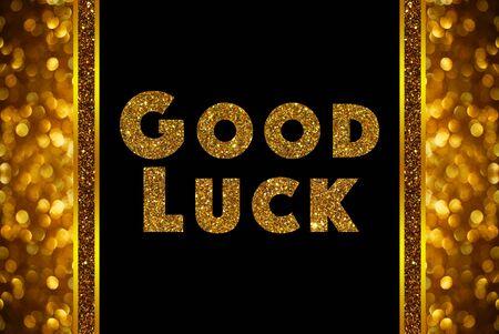 Palabra de la buena suerte en el bokeh de oro rosa resumen de antecedentes Foto de archivo - 57687834