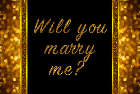 will you marry me: Will you marry me? word on rose gold bokeh abstract background Stock Photo