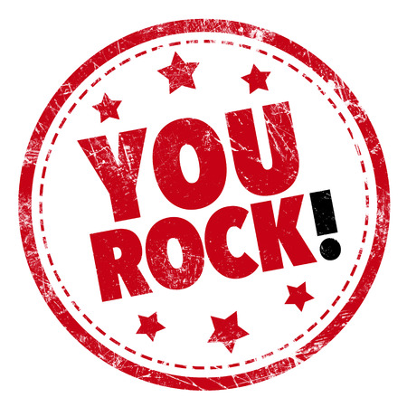 rockstar: Grunge rubber stamp with text - You Rock!