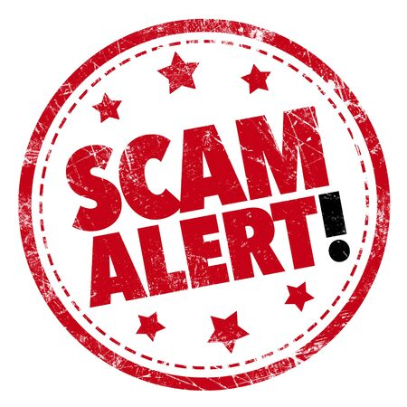 scam: Grunge rubber stamp with text - Scam Alert!